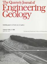 Quarterly Journal of Engineering Geology and Hydrogeology: 19 (2)